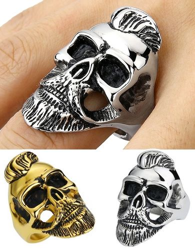 Imposing Hipster Ring 3D Bearded and mustachioed Skull