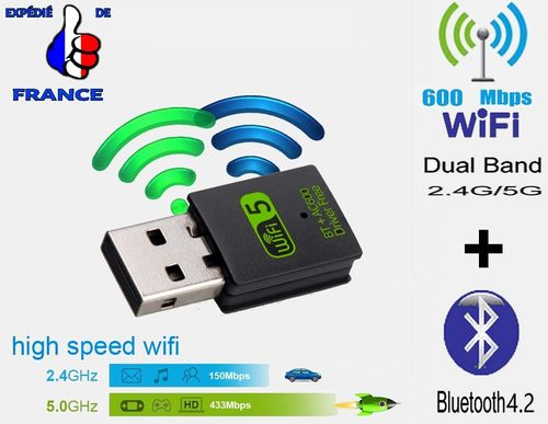 2-en-1 Mini Clé USB WIFI Double Bande + BLUETOOTH 4.2