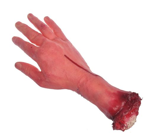 Trick Joke Halloween decoration: hand cut blood flesh bones