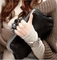 "Black cocktail Clutch handbag ""knuckle ring skull handle"""
