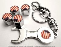 4 valve caps with USA flag + wrench key