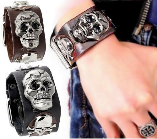 Strength Bracelet Genuine Leather with 3D skull Watch with lid