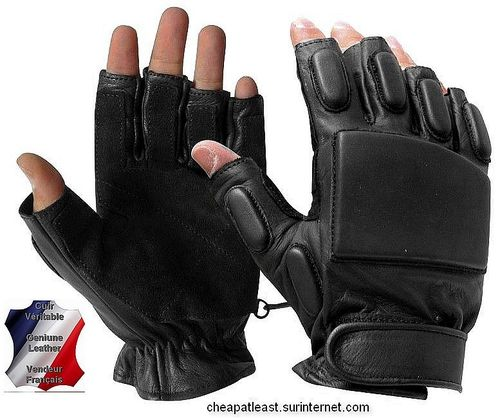 Half Finger gloves mittens Swat / Sniper design - Leather