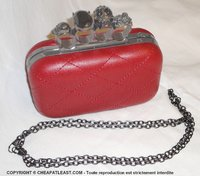 "rigid coctail handbag (red) ""knuckle handle"""