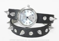 double twist Wrist watch Punk with spikes and diamonds