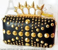Rigid Clutch handbag with Handle Rings spikes knuckle