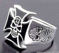 Steel Ring 2nd war Iron cross + skull + 13 (A. H.)