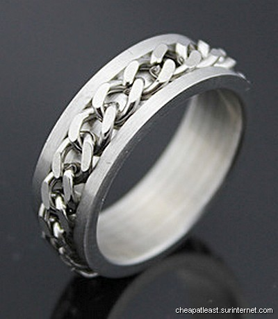Anti-stress Steel ring with rotating spinning chain