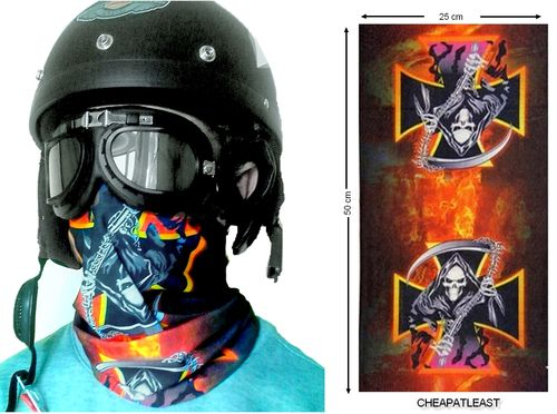 Mask neck Cover For Biker Reaper + War Iron Cross