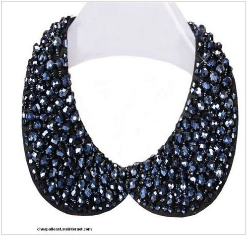 Necklace Pan Collar Claudine - Black or Blue Rhinestones
