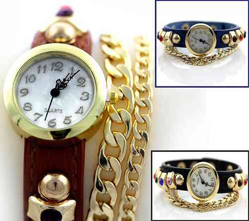 Jawelry watch with double chain and gems