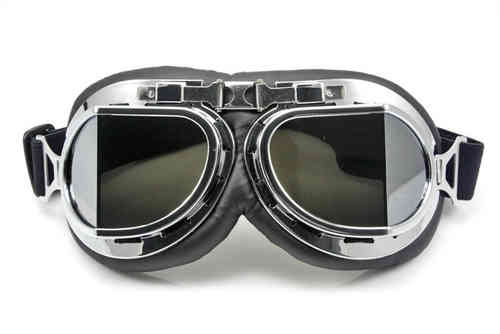 Retro Vintage Motorcycle Chrome Goggles smoked Angular Lenses