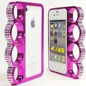 case knuckle shaped for Iphone 4 / 4S - ppurple diamond