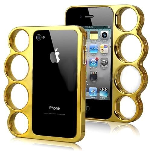 Coque Iphone 4 / 4S Poing américain Doré - Knuckle Style Fashion case