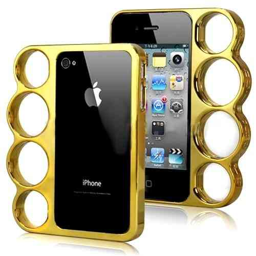 Coque Iphone 4 / 4S Poing américain Doré - Knuckle Style Fashion case