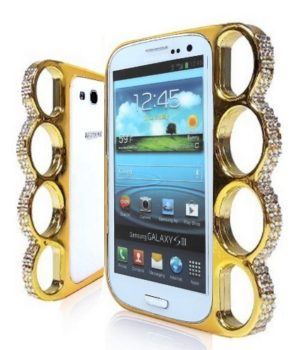 Coque Poing Américain Pour Galaxy S3 Or Strass