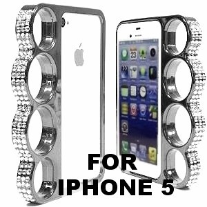 Coque Iphone 5 Poing Américain - Strass & Chrome