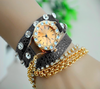 wristwatch gray leather jewelry triple lap - diamonds + chain