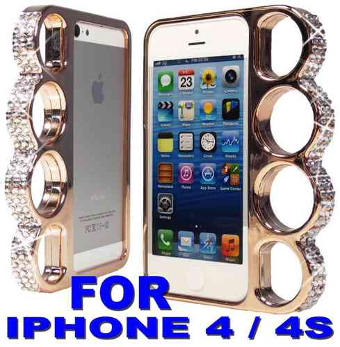 Coque Poing Americain Pour Iphone 4 4s Rose Gold Champagne Strass Knuckle Style Fashion Case 57 m