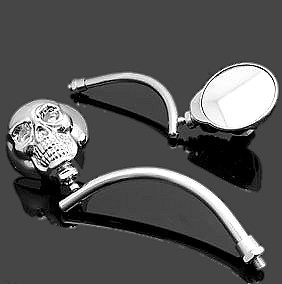 Pair Of Mirrors Skull for Motorcycle Custom