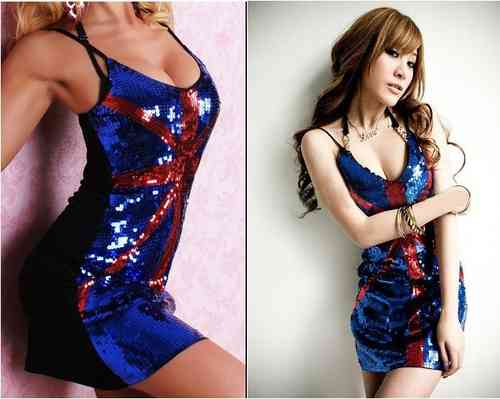Mini Evening Sexy Sequin Dress Clubbing - British Flag