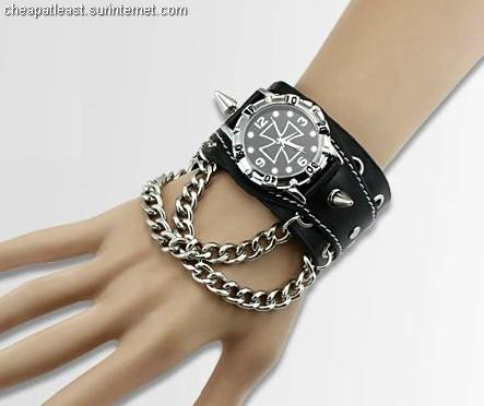 1 Men Rock Watch strength bracelet spikes Chain Iron War Cross