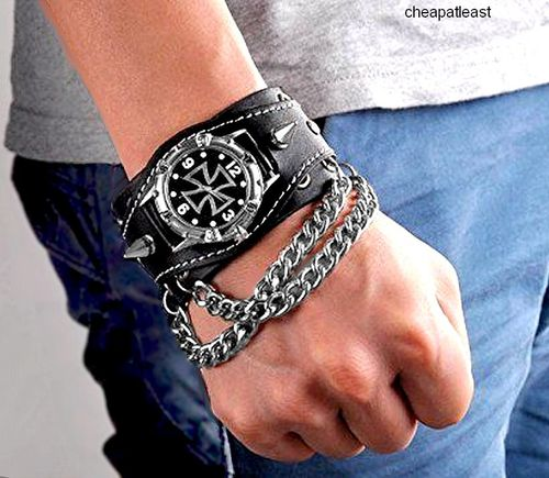 Men Watch Heavy Duty Leather band Rock spikes Chain Iron Cross