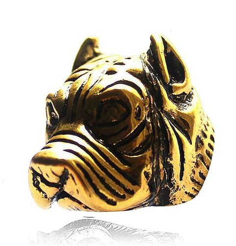 Dog Ring Pitbull Molosse Head shaped - Gold