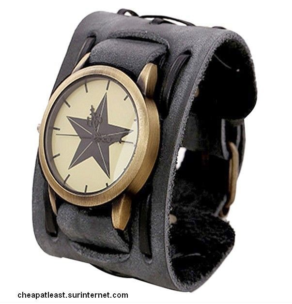 Bracelet Star Cuir Montre Rétro Rock Cheapatleast De Force Biker QBxoCredW