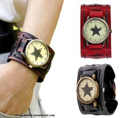 Watch leather wristband strength vintage retro rock Star