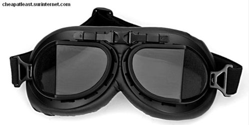 Motorcycle & Ski Vintage Black Goggles / smoked angular Lenses