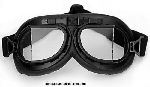 Vintage Motorcycle Black Goggles with clear angular Lenses