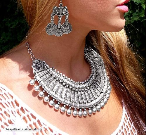 Inca Set Statement Necklace + Earrings Silver Metal