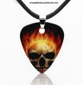 Necklace With Pendant Pick BURNING SKULL