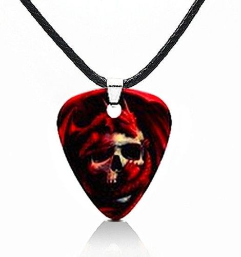 Necklace With Guitar Pick Crane & Dragon SKULL DEATH
