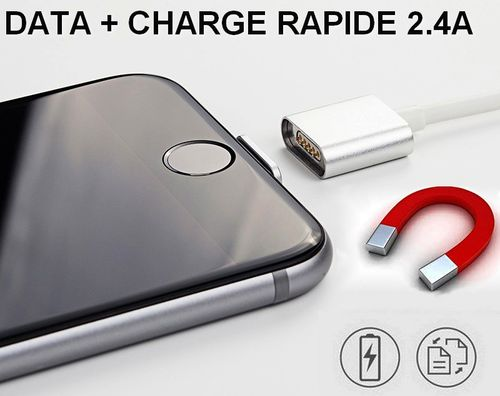 Cable Magnétique Charge Rapide + Data Iphone ou Smartphone