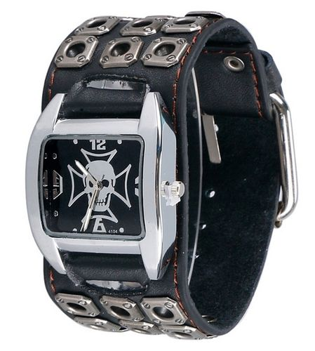 Large Wrist Watch Heavy Duty Leather Band Iron Cross & Skull