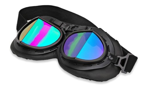 Vintage Motorcycle & Ski Black Goggles iridescent angular Lenses