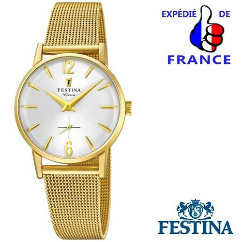 Woman Wrist Watch FESTINA EXTRA - Golden Steel silver Dial