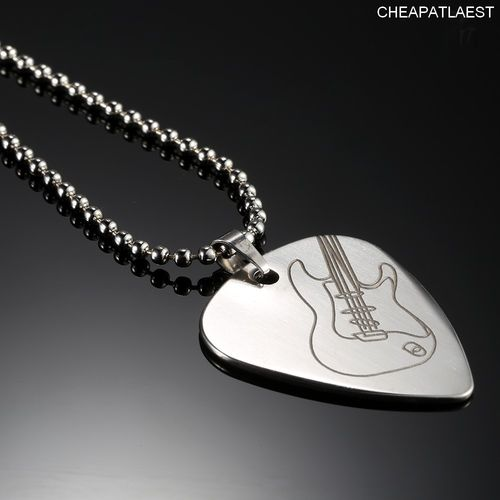 Rock Necklace with Steel Pick Electric Guitar Pendant