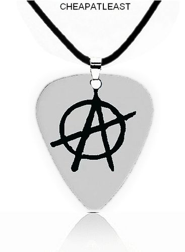Collier Anarchie Pendentif Médiator Guitare Punk Rock Grunge