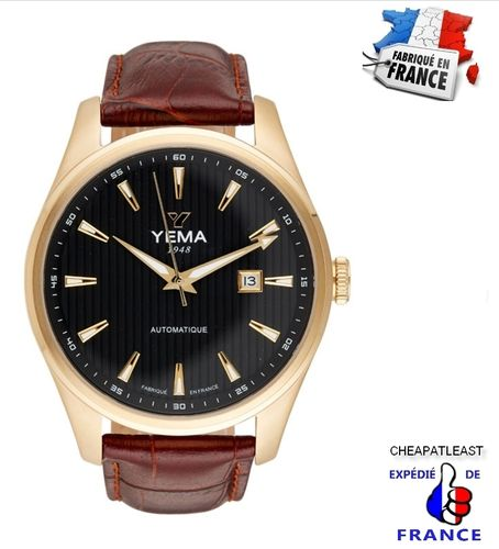 YEMA for Men: Automatic watch brown leather strap