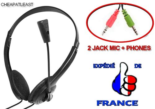 Hands-free Compound Headset With Mic & dual Male Jack