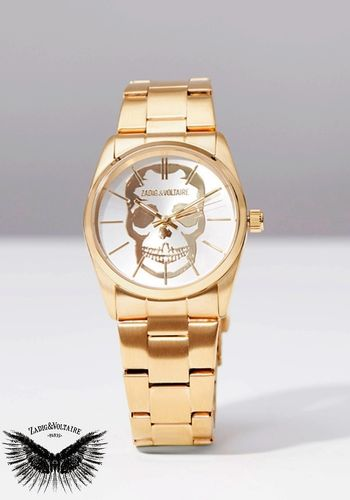 "Zadig & Voltaire Luxury Watch ""TIMELESS SKULL"" - Steel Gold & White"
