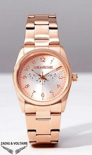 "Montre Luxe  Zadig & Voltaire ""Ailes D'Ange / Glitter"" - Rose Gold"