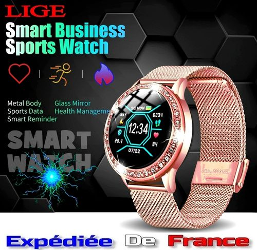 Smartwatch Montre Connectée pour Femme Or Rose Gold & Strass